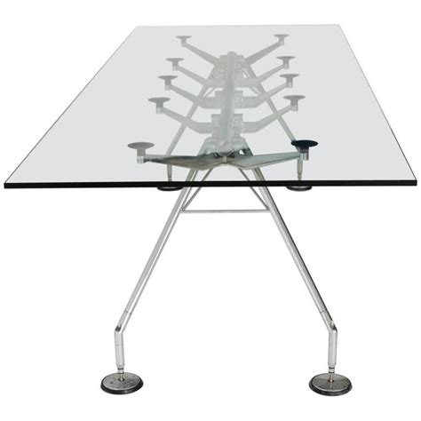 minimalist all glass dining table at 1stdibs chrome and glass dining table nomos by sir norman foster