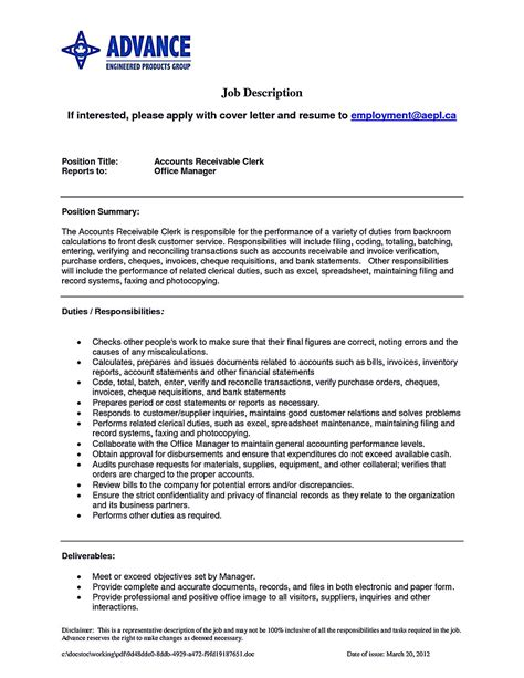 Accounts Receivable Resume by Account Receivable Resume Shows Both Technical And