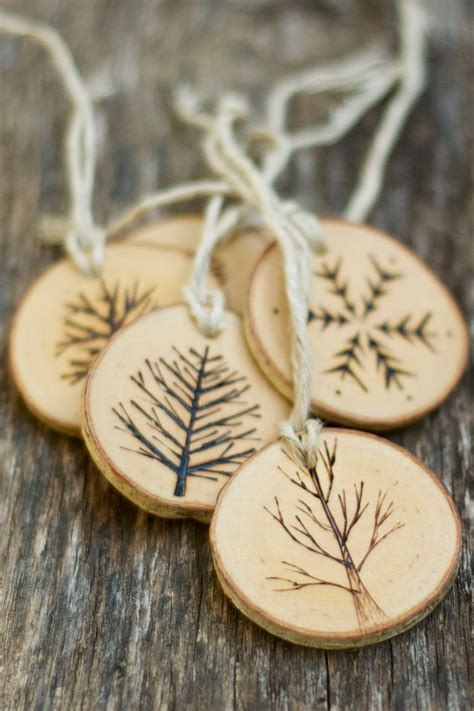 tree branch christmas ornaments wood burned trees