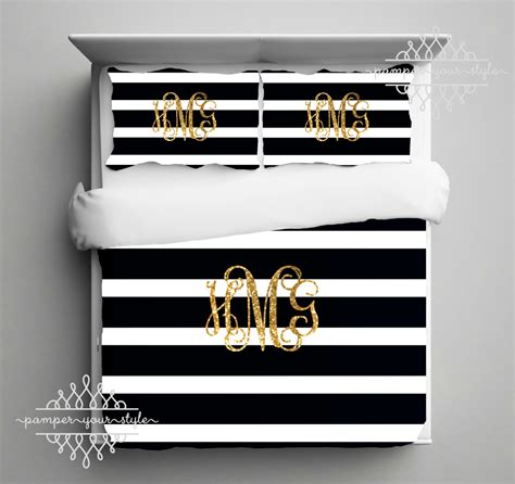 black and white striped comforter set gold monogram bedding black and white stripe comforter