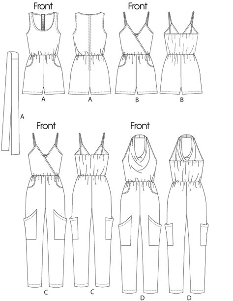 drawing pattern for sewing mccall s 6362 misses jumpsuits in two lengths and sash