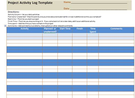 Project Activity Log Excel Template Project Management Excel Templates Activity Templates