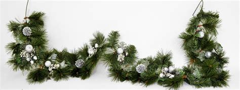6ft 180cm decorated christmas garland silver glitter