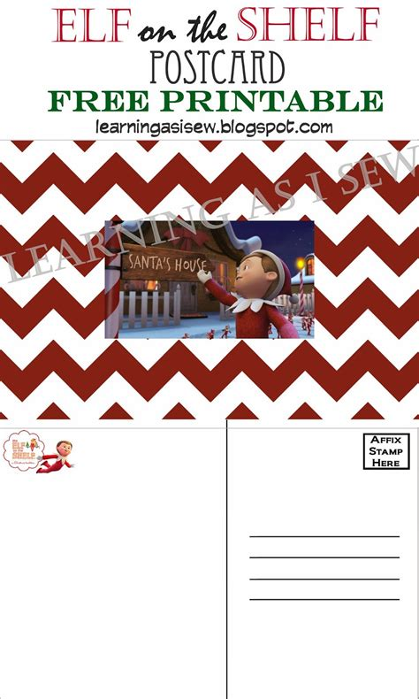 Printable Elf On The Shelf Postcard | learning as i sew bake cut and create elf on the