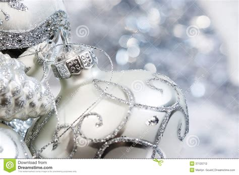 ivory and silver christmas ornaments stock photography