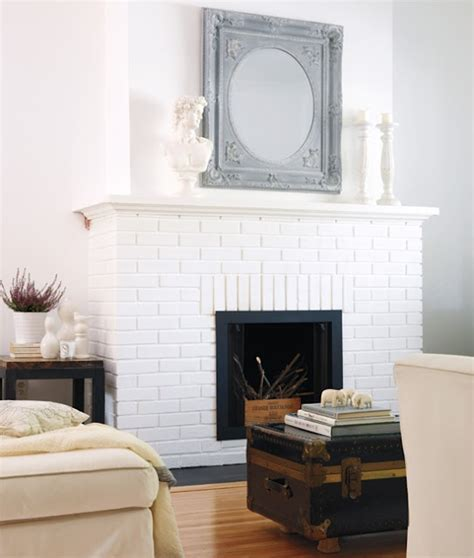 white painted brick fireplace for the home