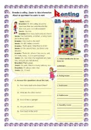 Apartment Vocabulary Teaching Worksheets A An