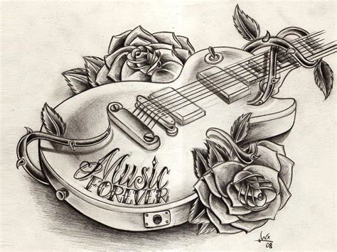guitar with roses tattoo grey ink flowers and guitar tattoos design