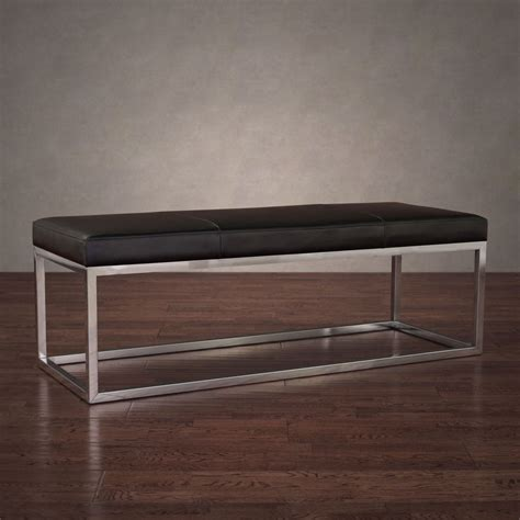 Black Leather Bench Manhattan Black And Stainless Steel Modern Leather Bench