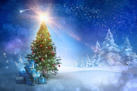 images of christmas nature images christmas nature christmas tree sky snow present balls