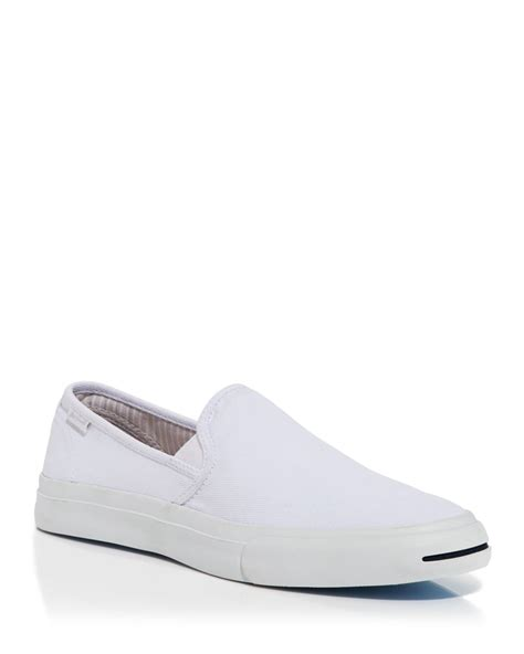 white slip on sneakers for converse purcell slip on sneakers in white for lyst