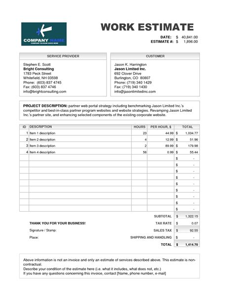 invoice estimate template estimate of work