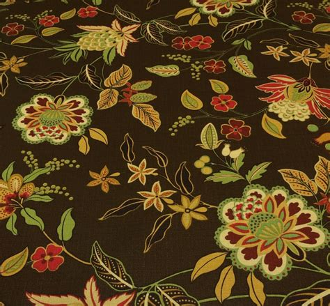 Jacobean Upholstery Fabric by Richloom Joline Cocoa Brown Nubby Jacobean Floral