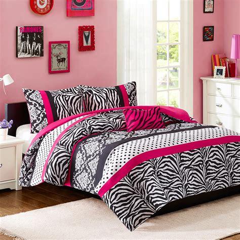 Hot Pink Black White Zebra Print Teen Girl Bedding Twin Pink And Black Bedding Sets