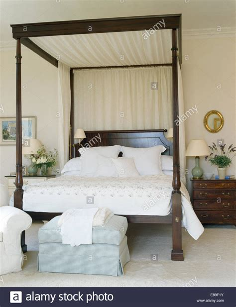 four poster bed drapes drapes on wood four poster bed with white linen