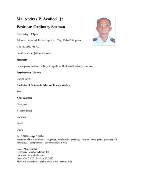 Resume Sle Format For Seaman Resume Update 1