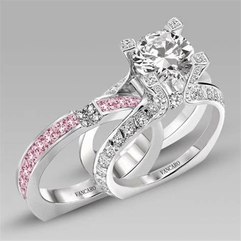 Verlobungsringe Set by White And Pink Cubic Zirconia 925 Sterling Silver White