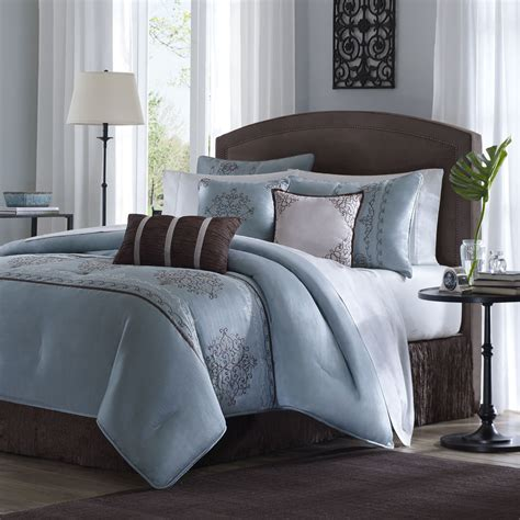 brown and blue comforter beautiful modern elegant light blue brown stripe scroll