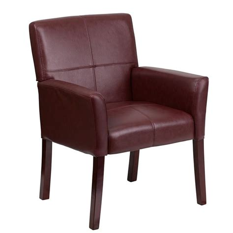 Burgundy Chair by Flash Furniture Leather Executive Side Burgundy Mahogany