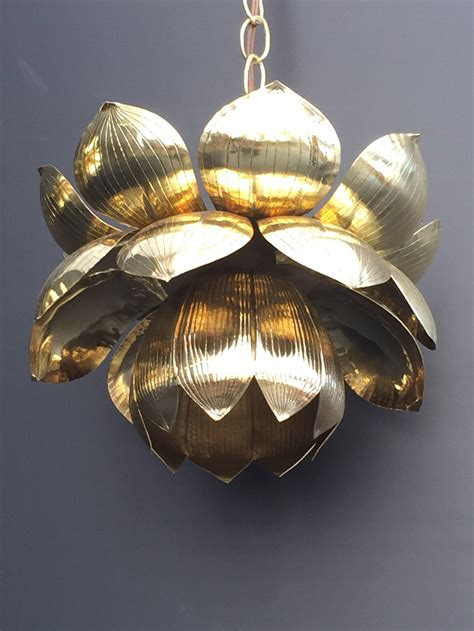 Lotus Pendant Light Small Brass Lotus Pendant Light By Feldman For Sale At 1stdibs