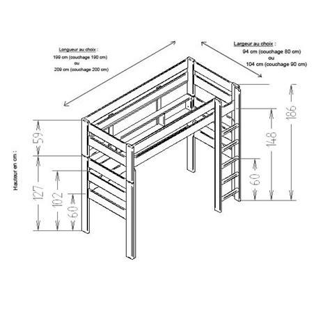 lit mezzanine semi hauteur lit mezzanine dominique hauteur 186 cm dissociable le