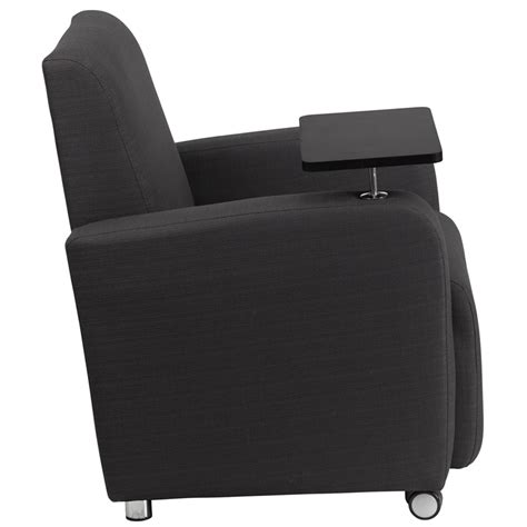recliner with tablet arm gray fabric guest chair with tablet arm and front wheel