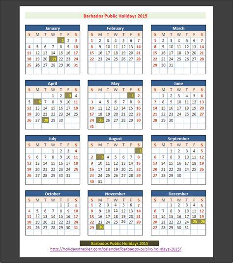 Barbados Calend 2018 Barbados Holidays 2015 Holidays Tracker