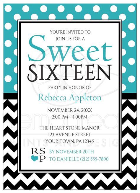 Simple Kitchen Design Pictures sweet 16 invitations polka dot turquoise amp chevron