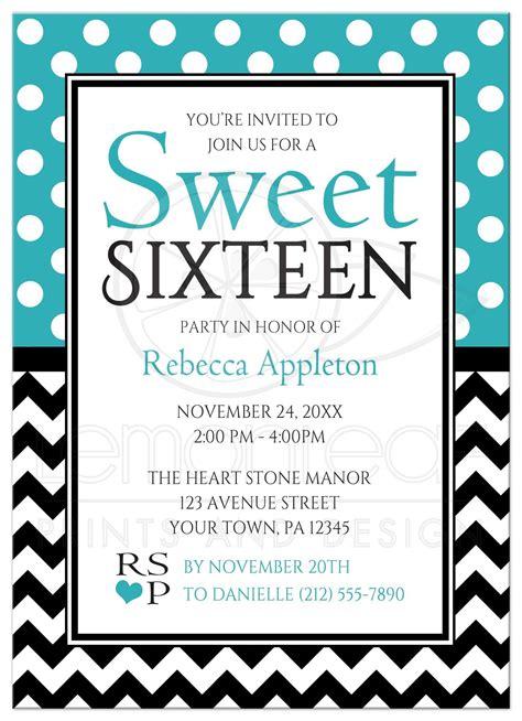 Sweet 16 Invitations by Sweet 16 Invitations Polka Dot Turquoise Chevron
