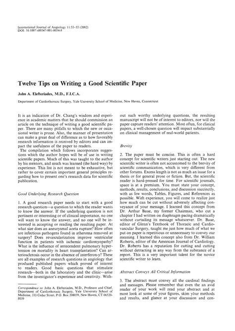 tips on writing a paper twelve tips on writing a scientific paper pdf