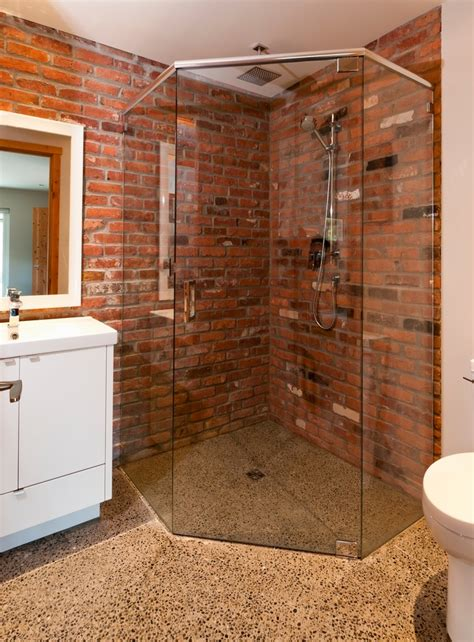 brick bathroom the well appointed catwalk a unique mix of materials in