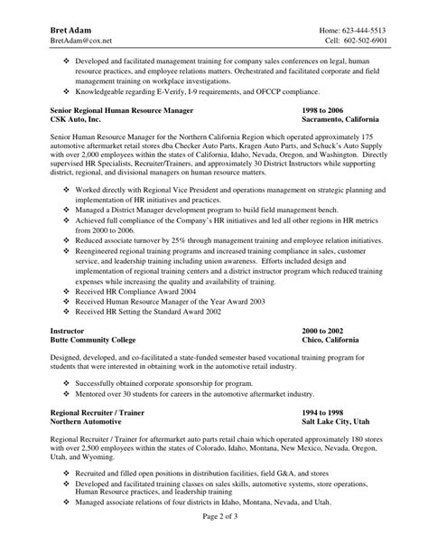 Automotive Parts Manager Sle Resume by Resume Bret Adam