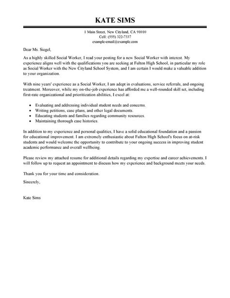 sle cover letters for social workers federal social