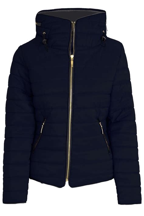 Padded Zip Up Coat womens coat padded quilted puffer fur collar
