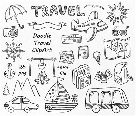 travel doodle free vector doodle travel clipart summer clipart digital clip