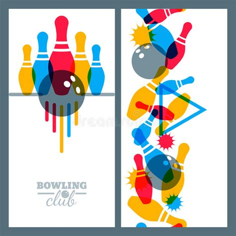 game design elements in vector from stock 2 set of bowling banner poster flyer or label design