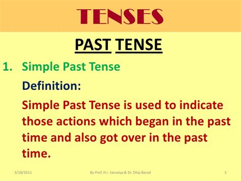 past tende past tense