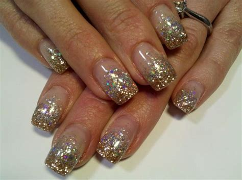 Nägel Mit Gold by Sparkle Silver And Gold Glitter Gel Nails My Work