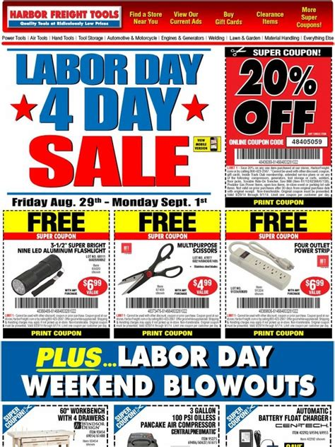 Buy Harbor Freight Gift Cards - harbor freight huge labor day 4 day sale 20 off free gifts starts friday aug
