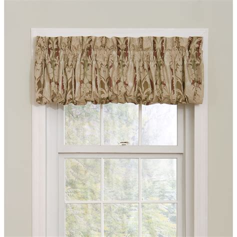 pouf valance curtains essential home hannah pouf 72x18 burgundy window valance