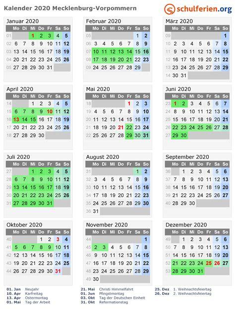 kalender  ferien mecklenburg vorpommern feiertage