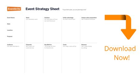One Page Event Plan Eventbrite Ie Blog Event Strategic Plan Template