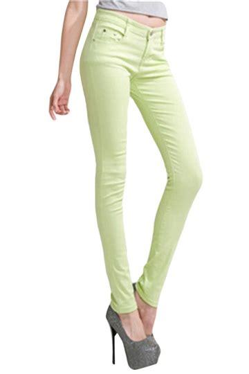 womens plain high elastic pockets pencil pants leggings light green pink queen