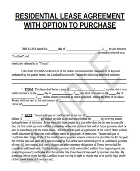 lease with option to buy agreement template lease purchase agreements residential lease purchase