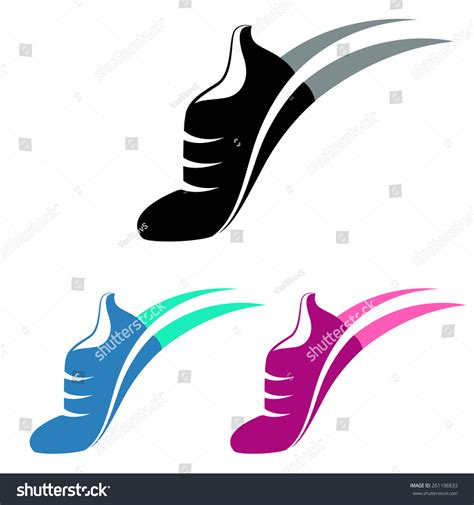 sport shoes logo vector illustration sport shoes sign with color variations