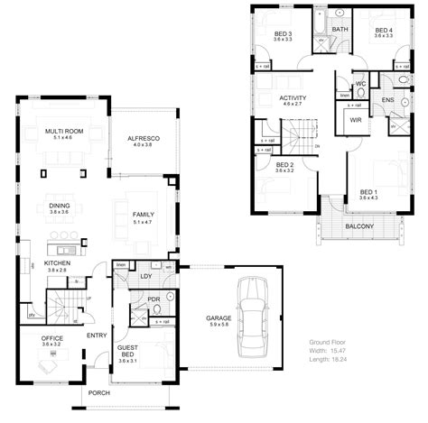 2 story villa floor plans small two story house plans narrow lot