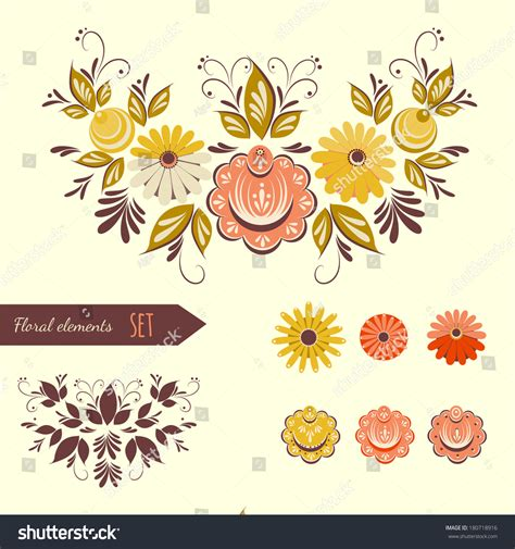 traditional design elements vector set floral design elements based on stock vector 180718916