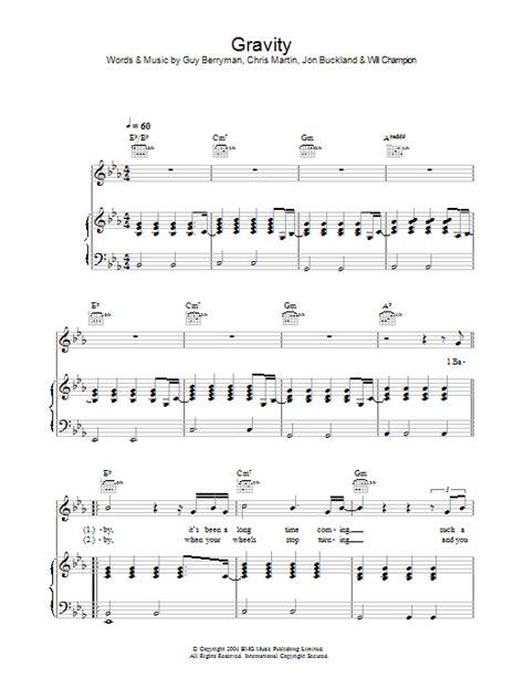 coldplay gravity lyrics gravity sheet music direct