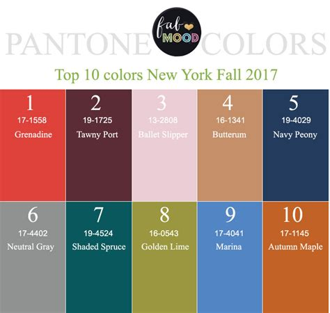 2017 pantone color palette pantone fall 2017 color palettes new york color