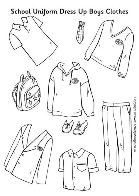 coloring pages school uniform school uniform paper dolls boys clothes